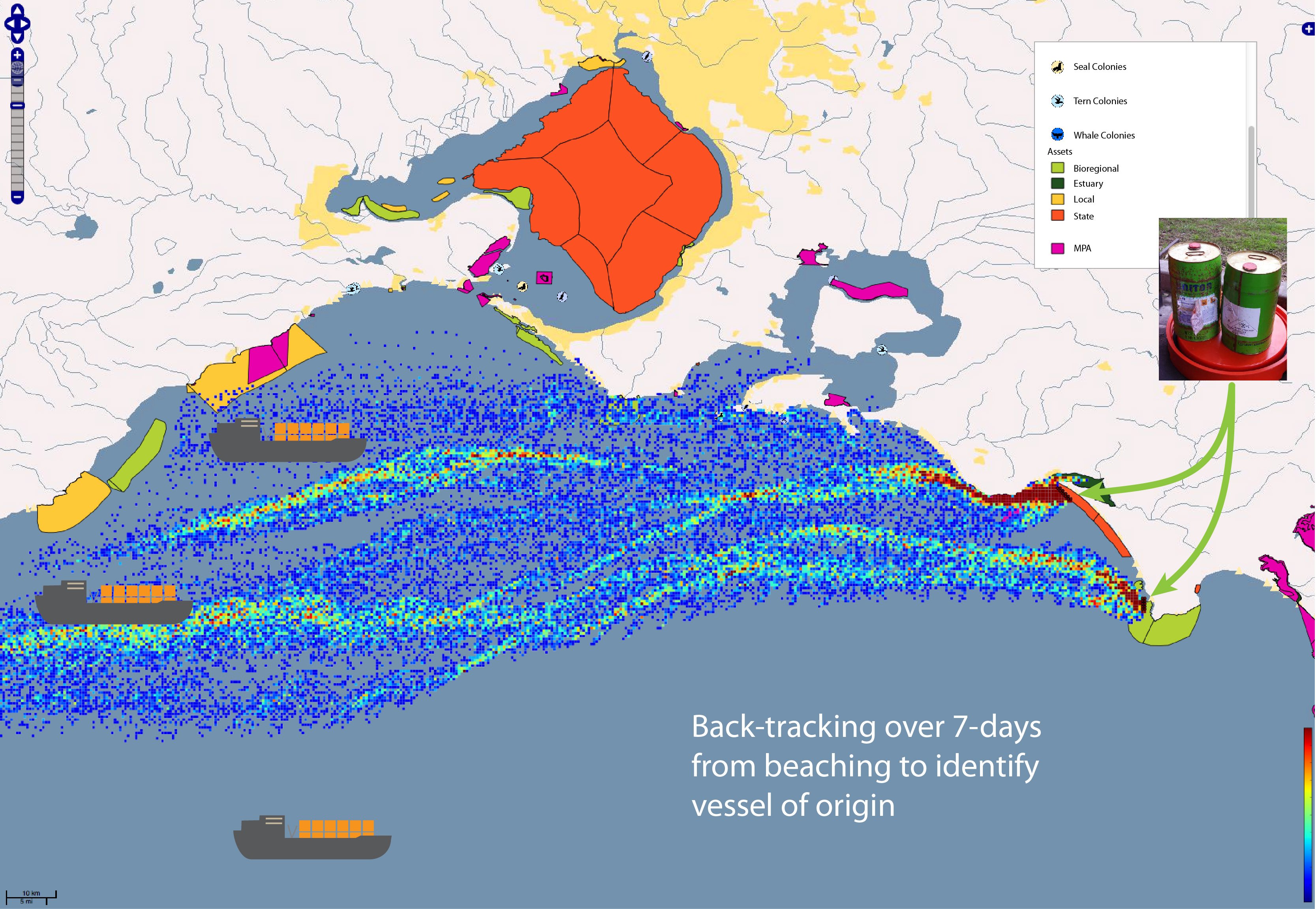 Figure shows ocean-current map and coloured plumes of possible oil-spill pathway from vessels along the southern Victorian coastline