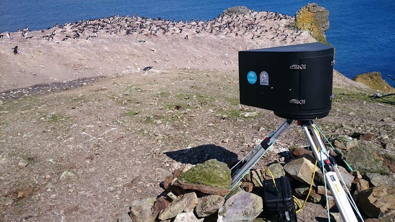CSIRO's CRAGS camera system which appears like a large triangular black box on a tripod
