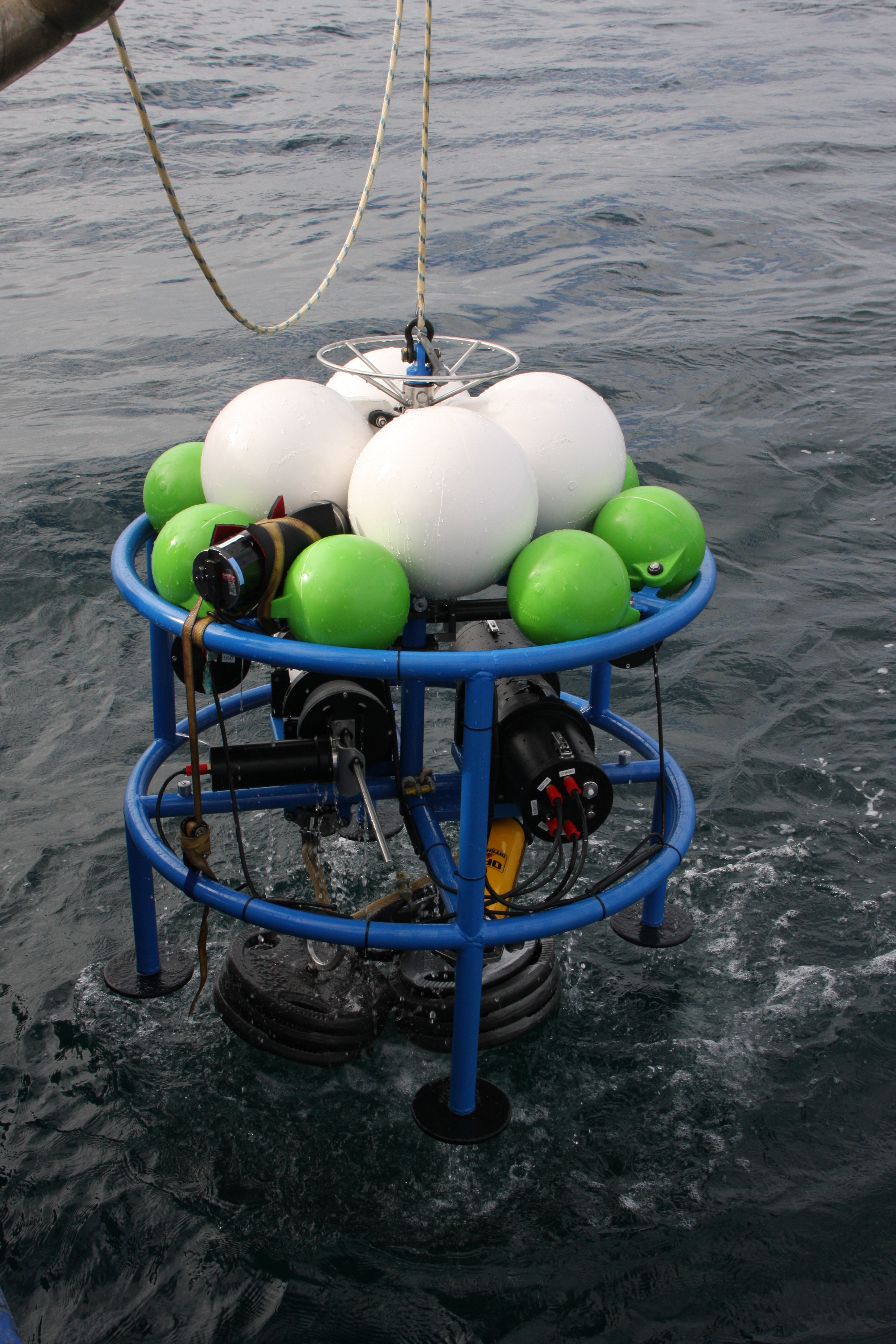 DeepBRUVS being deployed into the ocean