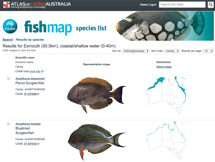 FishMap screenshot showing search results for coastal/shallow water fish within 50 km of Exmouth in Western Australia