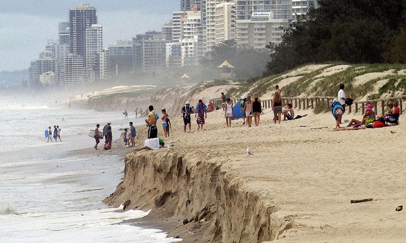 People on eroded beach on Queensland's Gold Coast