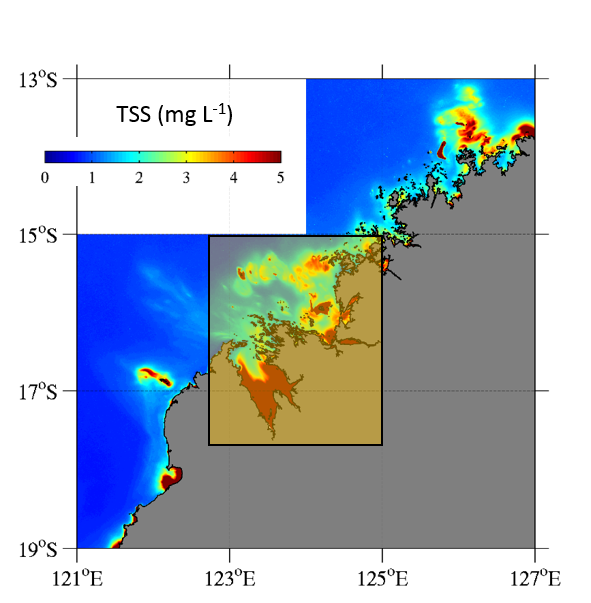 Map of north western West Australian coastline with colour grading identifying low to high turbidity. A yellow box is around the King Sound and Collier Bay region where the highest turbidity concentrations were observed.
