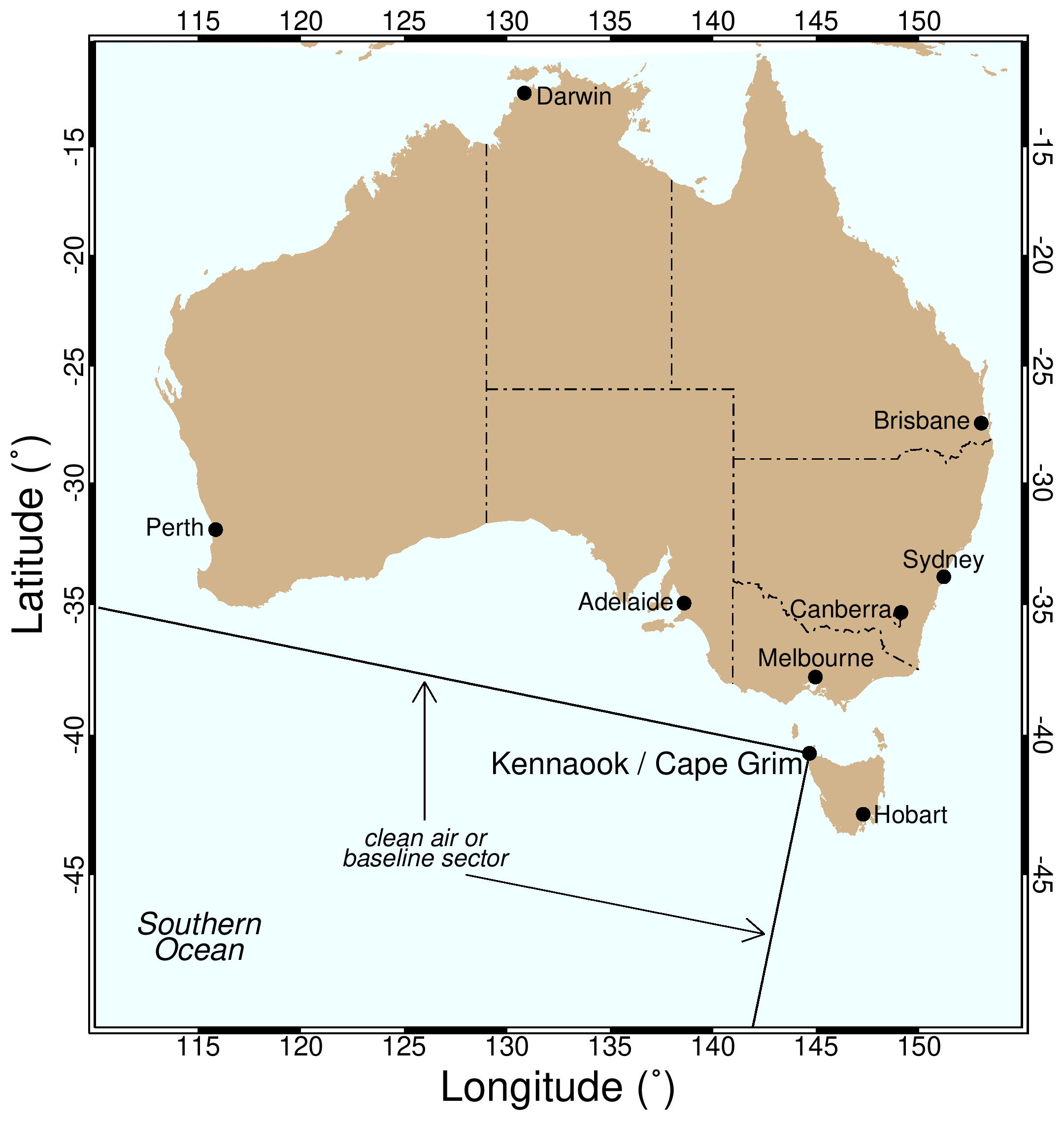 Map of Australia with the Cape Grim air sampling station identified.