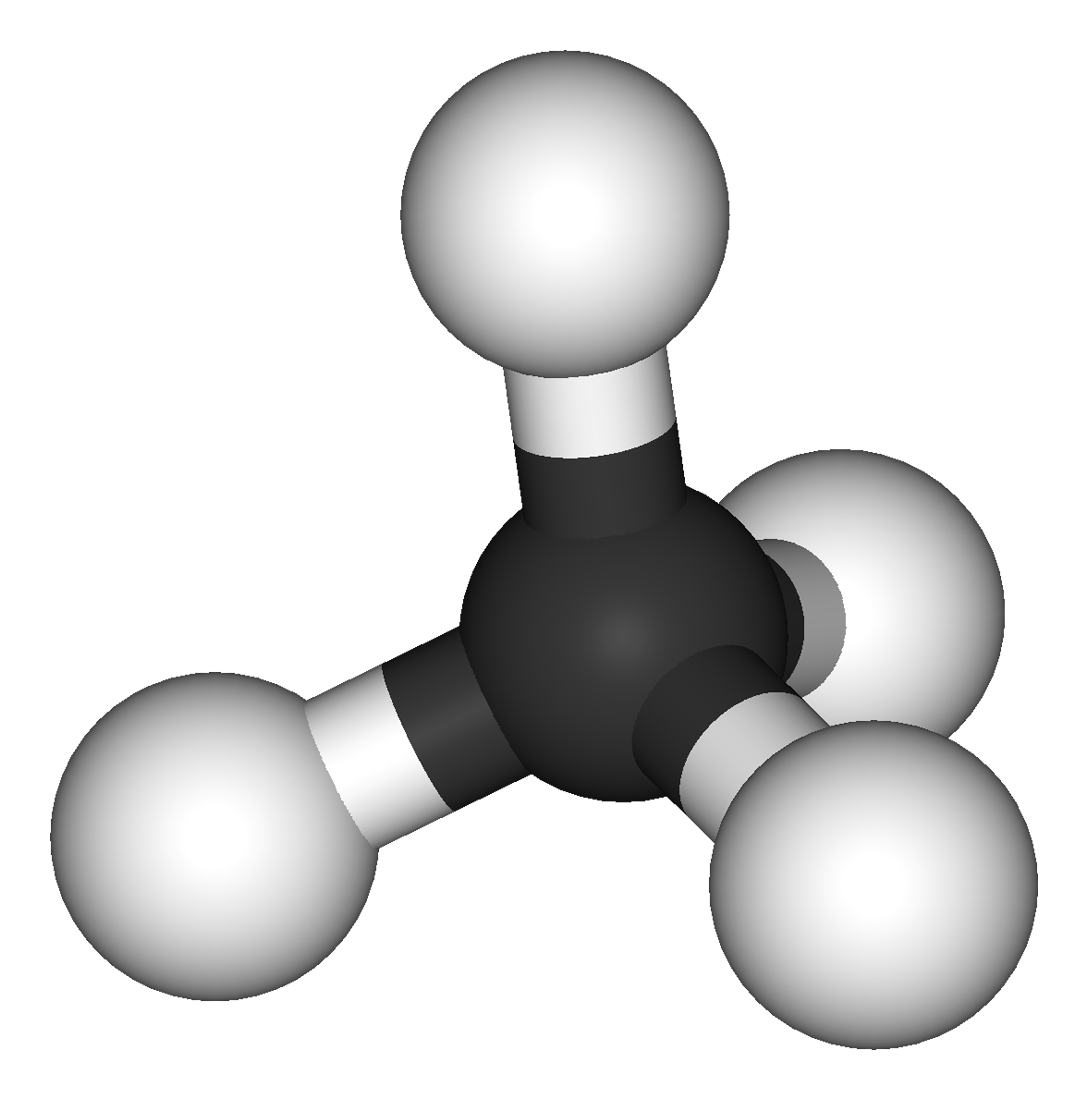 Model of a methane molecule: one carbon atom surrounded by four hydrogen atoms.