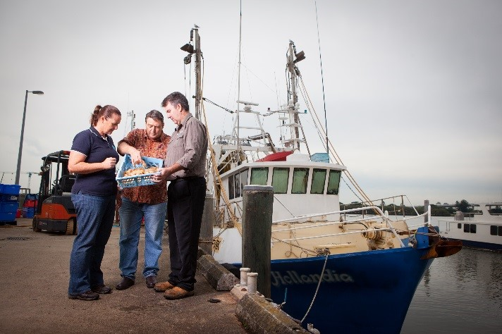 Researchers and industry inspect a prawn catch with a fishery boat in the background