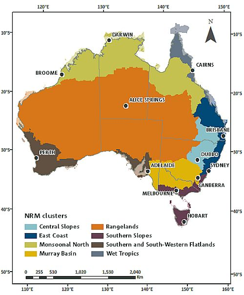Map of Australia showing eight regions (or clusters) assessed. Capital cities are shown.