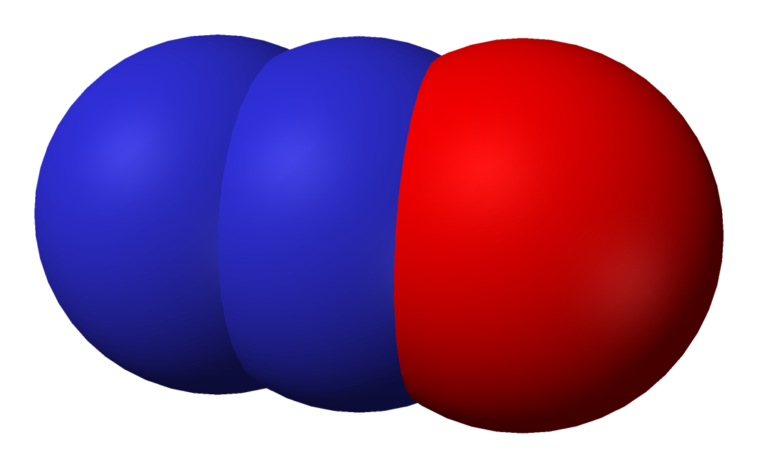 Space-filling model of nitrous oxide
