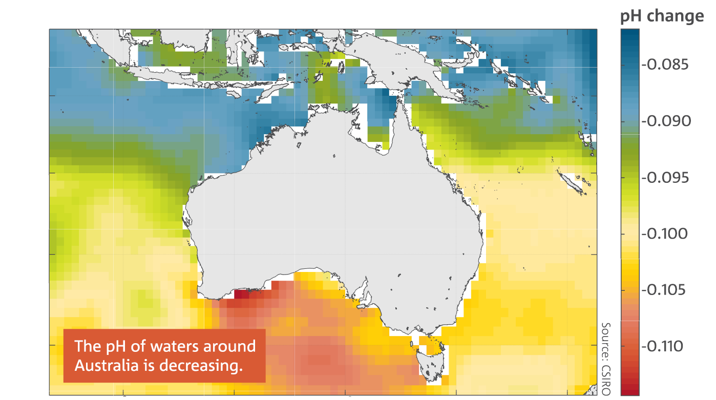 Map: The change in the pH of surface waters around Australia between 1880–89 and 2000–09. The pH of waters around Australia is decreasing.