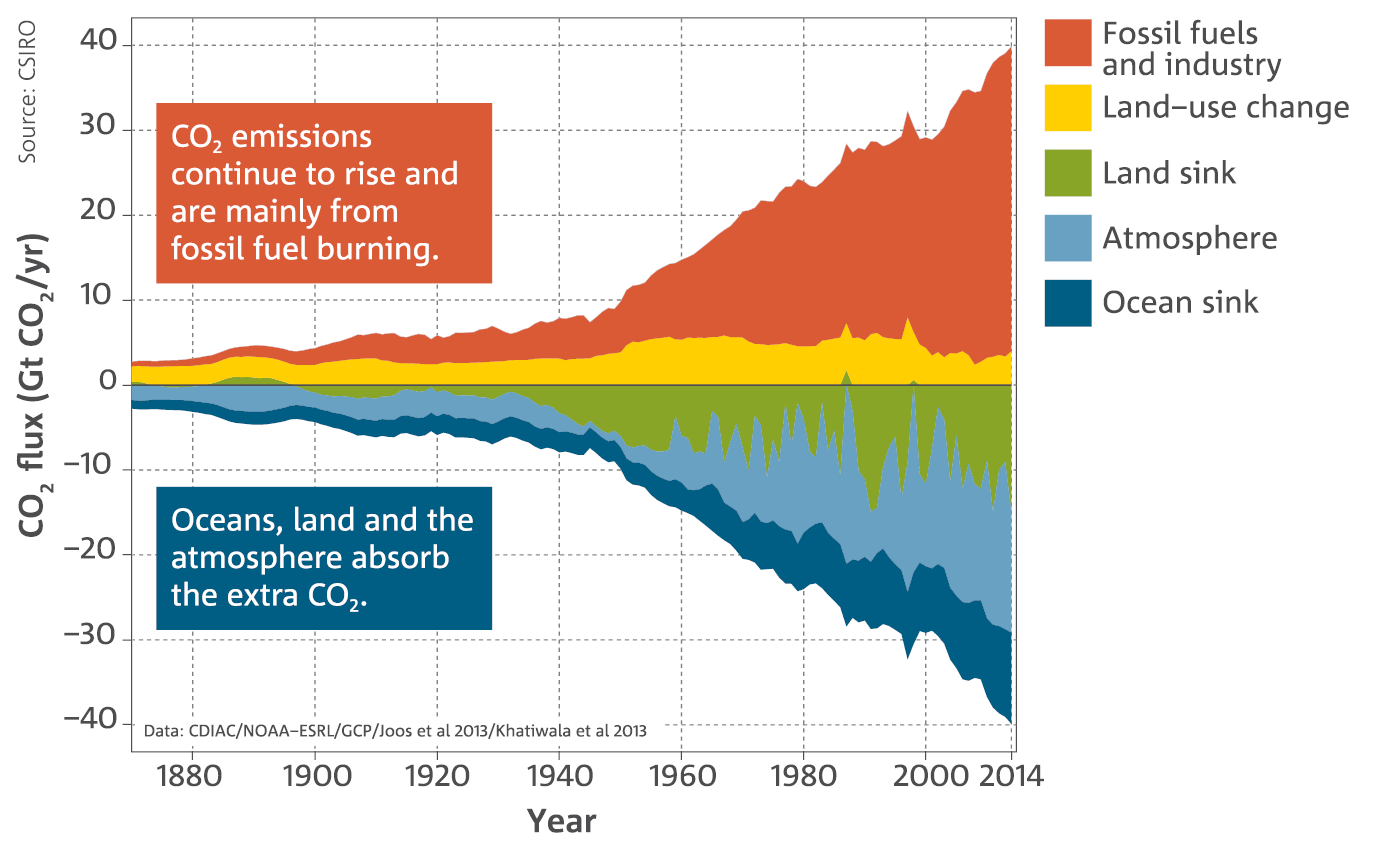 Chart: Annual fluxes of CO2 and their changing sources (fossil fuels and industry, land-use change, land sink, astmosphere, ocean sink). CO2 emissions continue to rise and are mainly from fossil fuel burning.  Oceans, land and the atmosphere absorb the extra CO2.