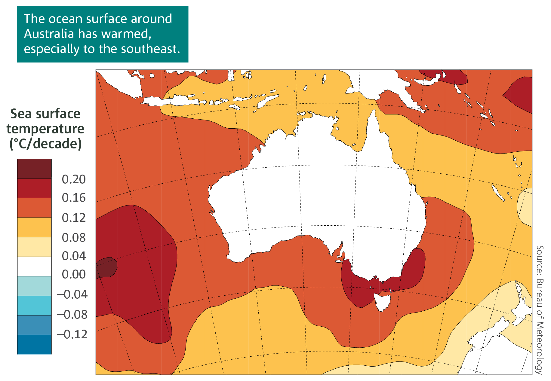 A map showing trends in sea surface temperatures in the Australian region from 1950 to 2017.