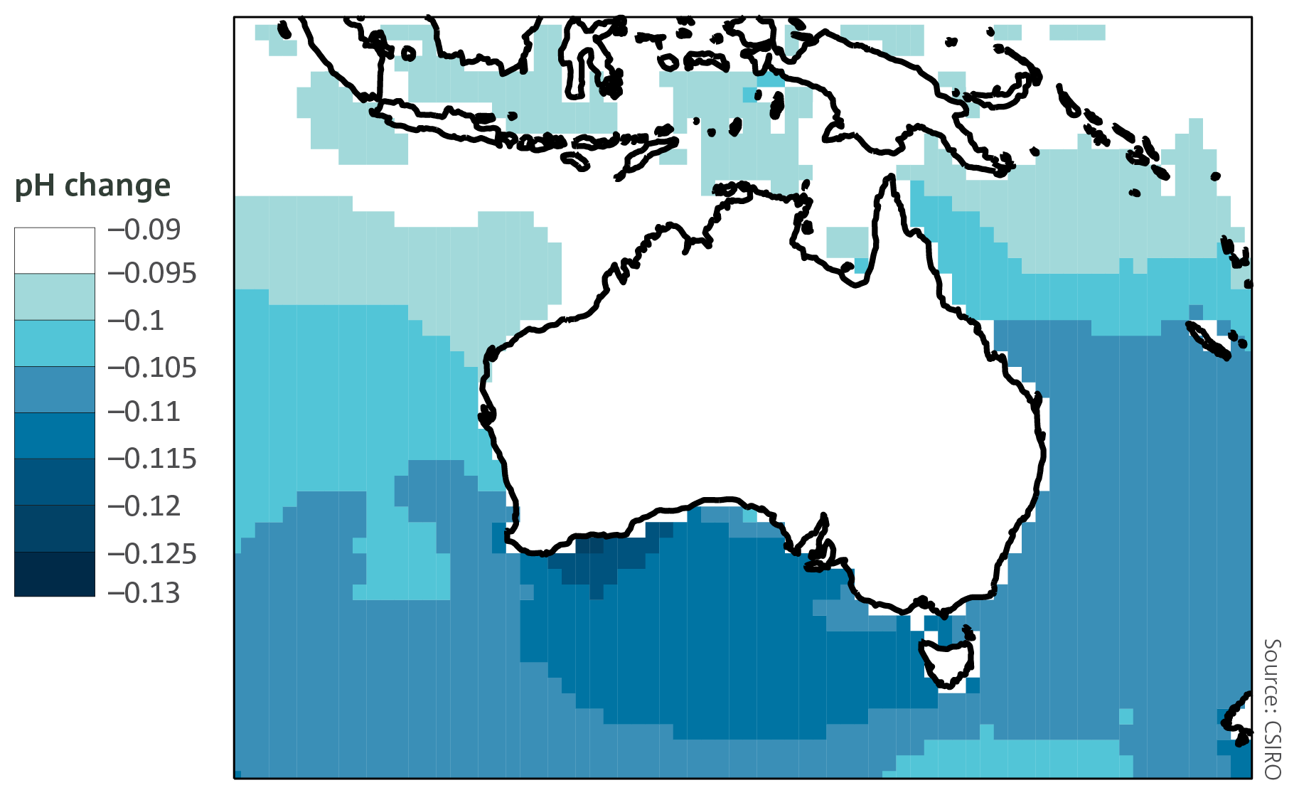 The pH of surface waters around Australia, top: change between 1880–1889 and 2003–2012.
