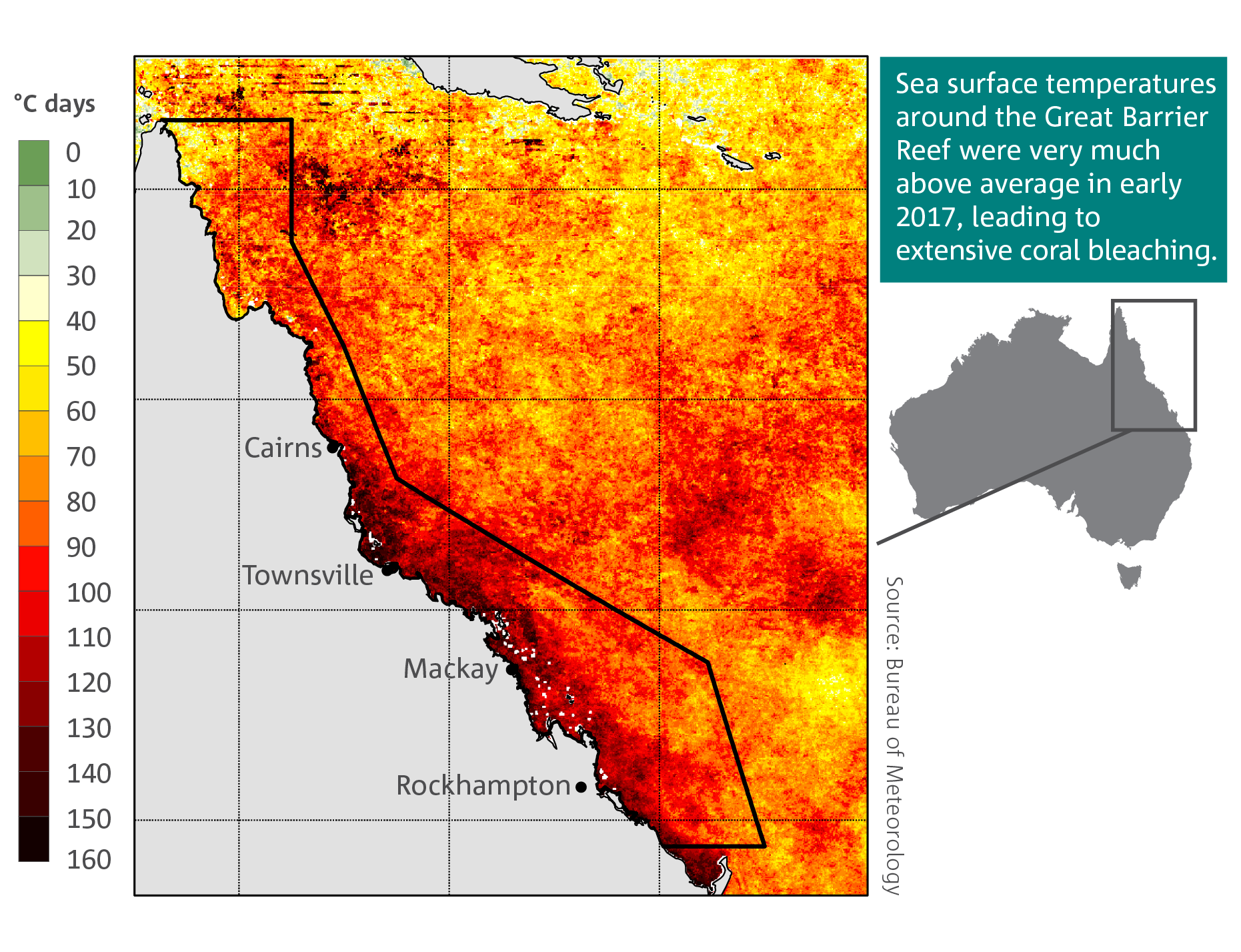 A Great Barrier Reef coral bleaching risk map.