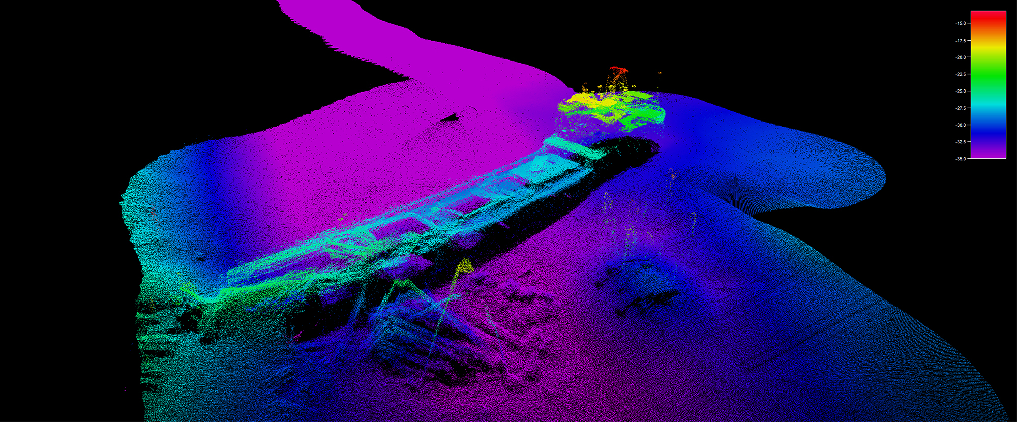 Shipwreck image developed using an echosounder