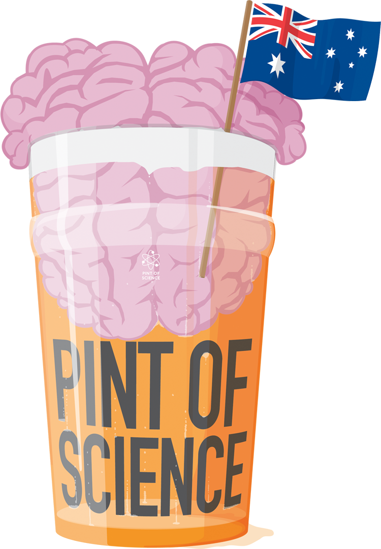 Pint of science logo, pint of beer with a brain in it and Australian flag